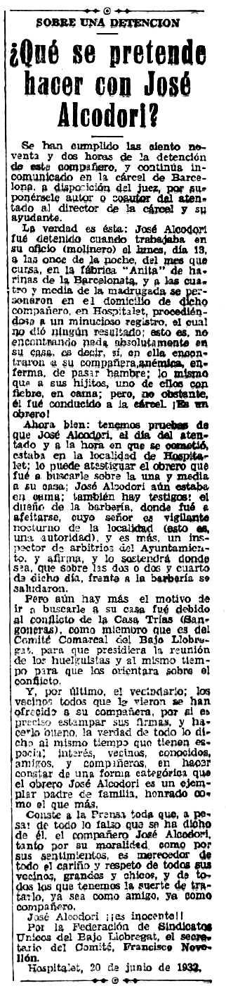 """Notícia sobre la detenció de José Alcodori Villalba apareguda en el periòdic madrileny """"Tierra"""" del 25 de juny de 1932"""