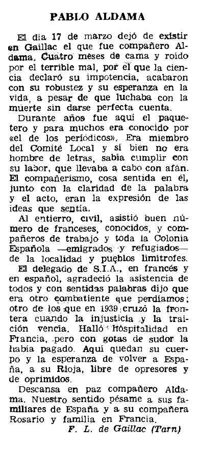 "Necrològica de Pablo Aldama Martínez apareguda en el periòdic parisenc ""Le Combat Syndicaliste"" de l'11 d'abril de 1963"