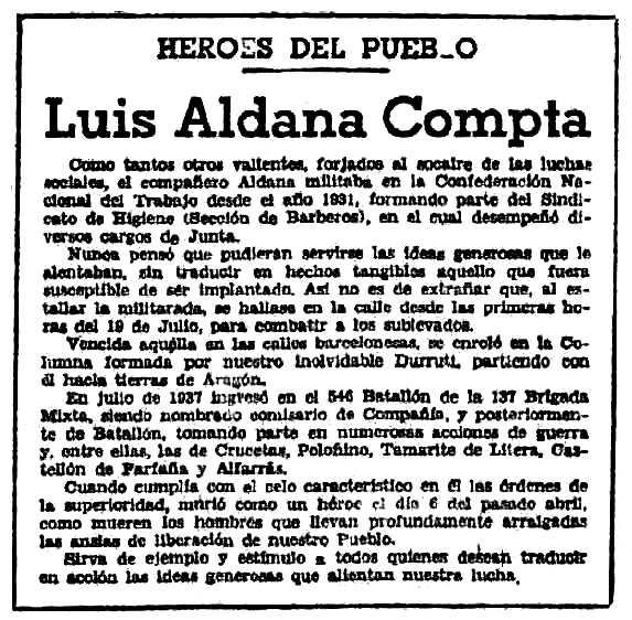 "Necrològica de Lluís Aldana Compta publicada en el periòdic barceloní ""Solidaridad Obrera"" del 12 de juny de 1938"