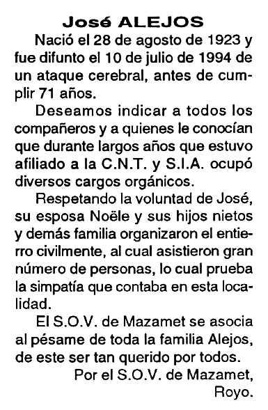 """Necrològica de José Manuel Alejos Cazurro apareguda en el periòdic tolosà """"Cenit"""" del 27 de setembre de 1994"""