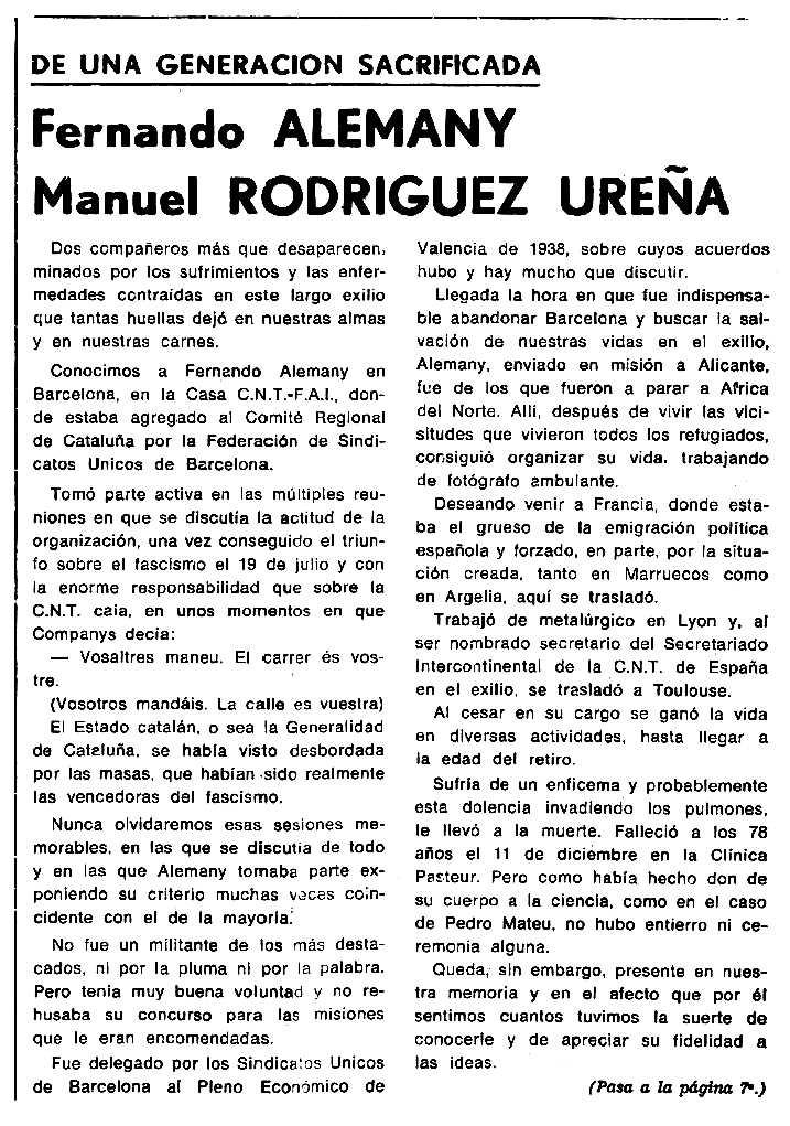 """Necrològica de Ferran Alemany Fernández apareguda en el periòdic tolosà """"Cenit"""" del 7 de gener de 1986"""