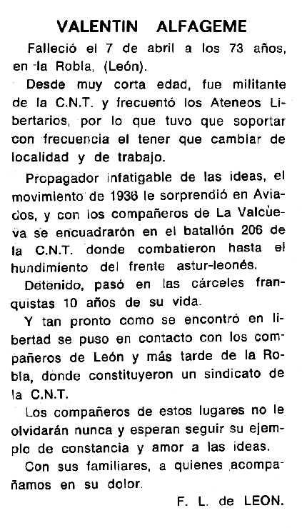 """Necrològica de Valentín Alfageme Melón apareguda en el periòdic tolosà """"Espoir"""" del 18 de setembre de 1966"""