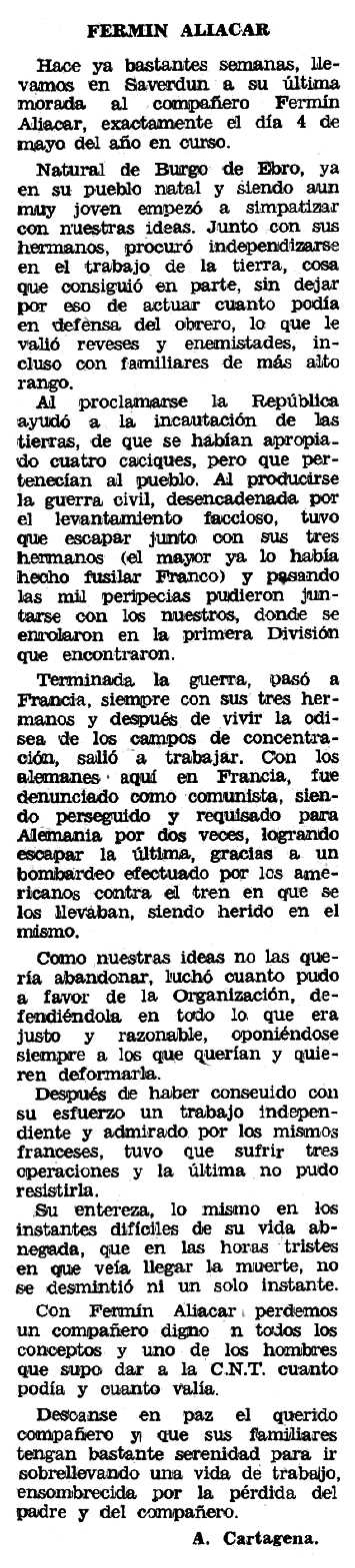 "Necrològica de Fermín Aliacar Garralaga apareguda en el periòdic tolosà ""Espoir"" de l'1 de novembre de 1970"
