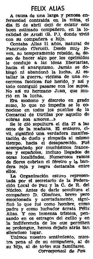 """Necrològica de Félix Alias Escriche apareguda en el periòdic parisenc """"Solidaridad Obrera"""" de l'11 de maig de 1961"""