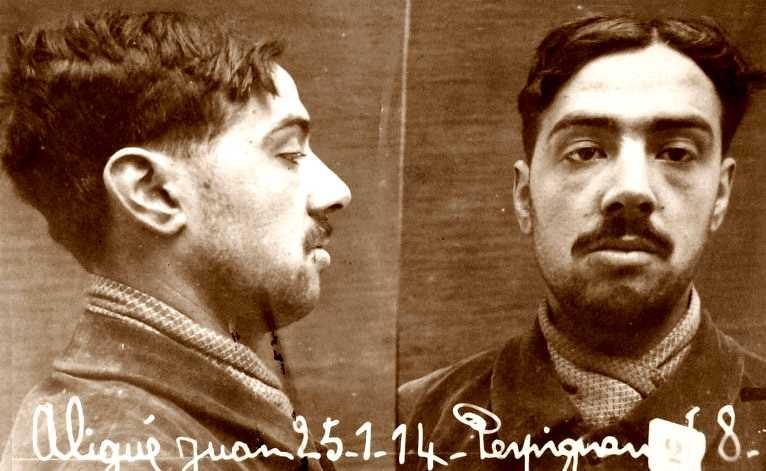 Foto policíaca de Joan Aligué Casals (1914)