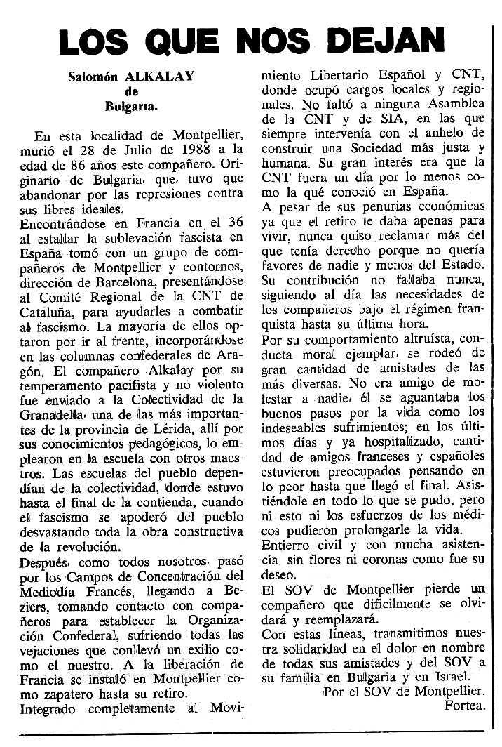 """Necrològica de Salomon Alkalay apareguda en el periòdic tolosà """"Cenit"""" del 24 de gener de 1989"""