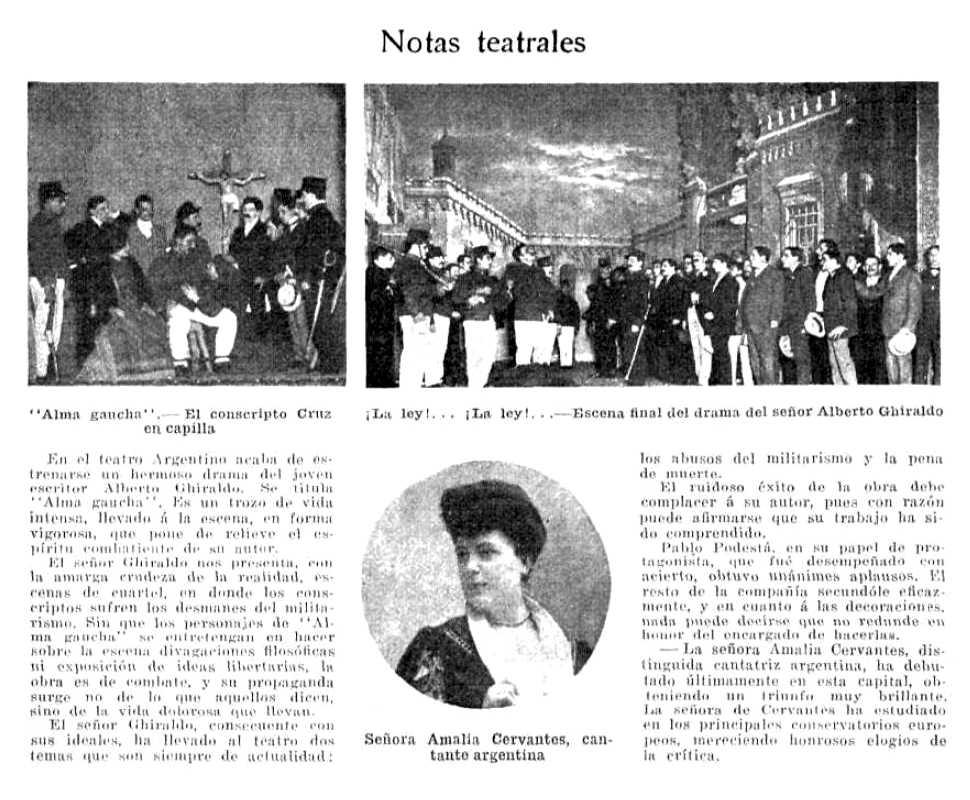 """Notícia de l'estrena d'""""Alma Gaucha"""" apareguda en la revista """"Caras y Caretas"""" del 5 de gener de 1907"""