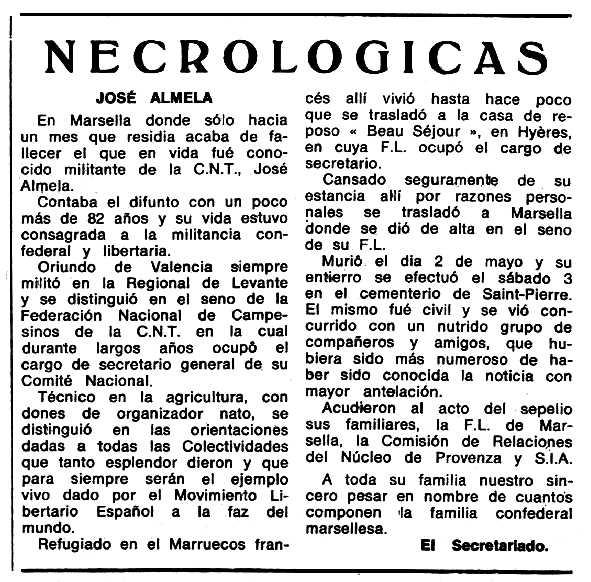 """Necrològica de Joan Almela apareguda en el periòdic tolosà """"Espoir"""" del 22 de jny de 1969"""