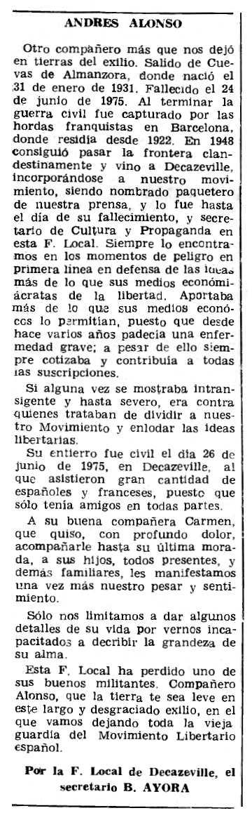 "Necrològica d'Andrés Alonso Pérez apareguda en el periòdic parisenc ""Le Combat Syndicaliste"" del 6 de novembre de 1975"