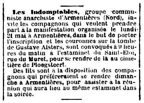 """Convocatòria de manifestació en homenatge a Gustave Alsters publicada en el periòdic parisenc """"Le Parti Ouvrier"""" del 17 de maig de 1888"""