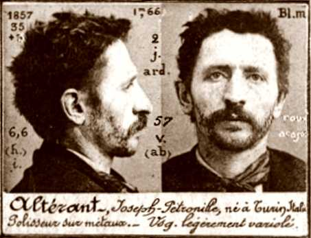 Foto policíaca de Guiseppe Alterant (ca. 1894)