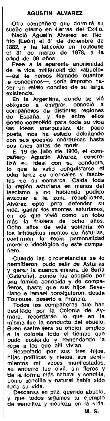 """Necrològica d'Agustín Álvarez apareguda en el periòdic tolosà """"Espoir"""" del 19 de juny de 1978"""
