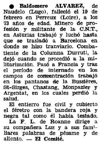 """Necrològica de Baldomero Álvarez Pérez apareguda en el periòdic tolosà """"Espoir"""" del 15 de maig de 1966"""
