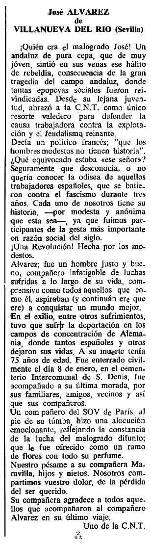 "Necrològica de José Manuel Álvarez Corzo apareguda en el periòdic tolosà ""Cenit"" del 10 d'abril de 1990"