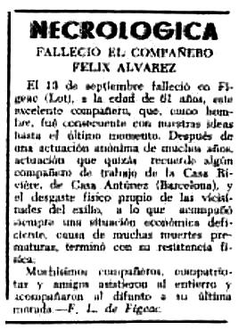"""Necrològica de Félix Álvarez Fernández apareguda en el periòdic tolosà """"CNT"""" de l'11 d'octubre de 1953"""