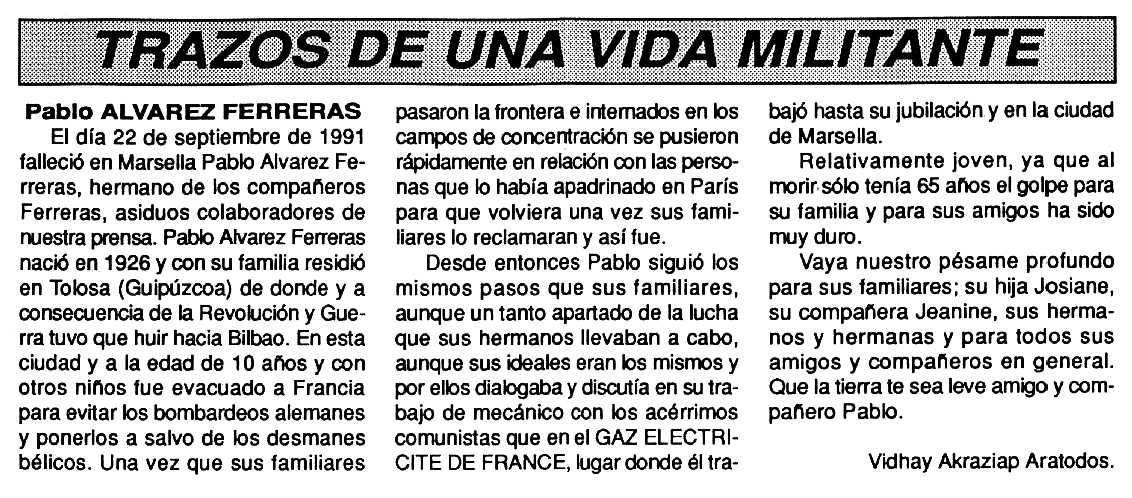 """Necrològica de Pablo Álvarez Ferreras apareguda en el periòdic tolosà """"Cenit"""" del 22 d'octubre de 1991"""