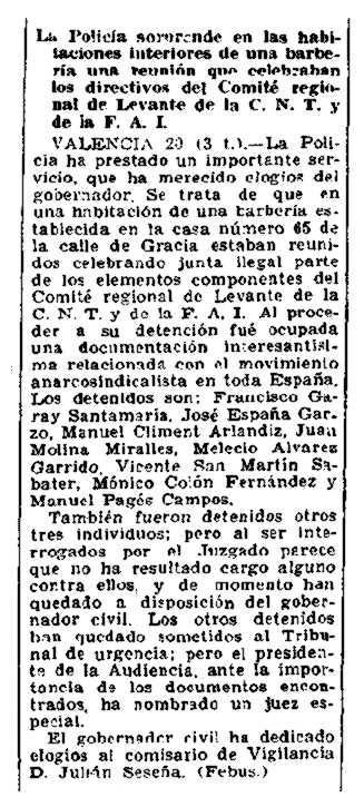 """Notícia de la detenció del Comitè Regional de Llevant apareguda en diari madrileny """"El Sol"""" del 21 de desembre de 1933"""