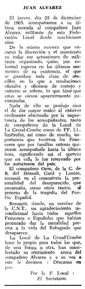 """Necrològica de Juan Álvarez apareguda en el periòdic tolosà """"Espoir"""" del 20 de març de 1966"""