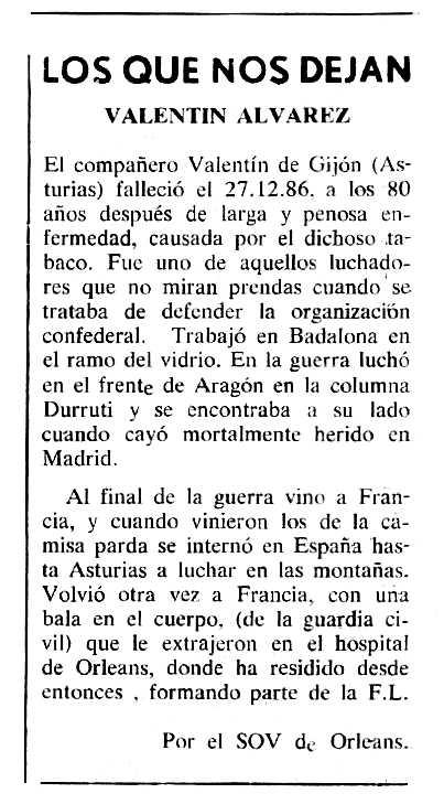 """Necrològica de Valentín Álvarez Menéndez apareguda en el periòdic tolosà """"Cenit"""" del 27 de gener de 1987"""