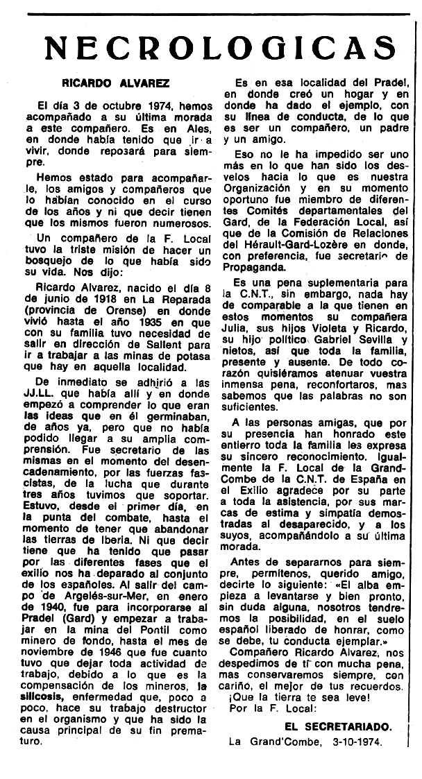 "Necrològica de Ricardo Álvarez Portela publicada en el periòdic tolosà ""Espoir"" del 29 de desembre de 1974"