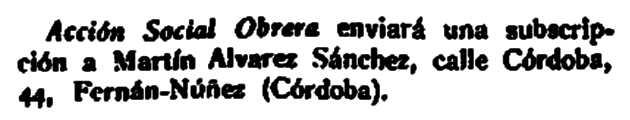 "Notícia administrativa sobre Martín Álvarez Sánchez apareguda en la revista madrilenya ""La Revista Blanca"" de l'1 de setembre de 1928"
