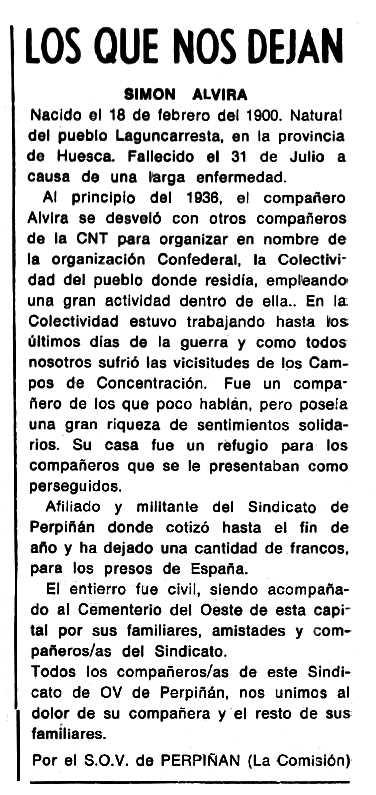 """Necrològica de Simón Alvira Novales apareguda en el periòdic tolosà """"Cenit"""" del 24 de novembre de 1987"""