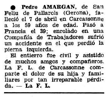"""Necrològica de Pere Amargan Marès apareguda en el periòdic tolosà """"Espoir"""" del 15 de maig de 1966"""