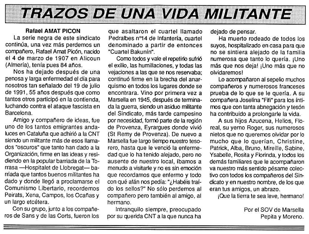 """Necrològica de Rafael Amat Picón apareguda en el periòdic tolosà """"Cenit"""" del 27 d'agost de 1991"""