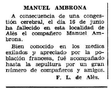 """Necrològica de Manuel Ambrona Tudela apareguda en el periòdic tolosà """"Espoir"""" del 18 de setembre de 1966"""