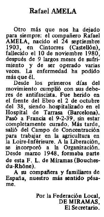 """Necrològica de Rafael Amela apareguda en el periòdic tolosà """"Espoir"""" del 7 de desembre de 1980"""