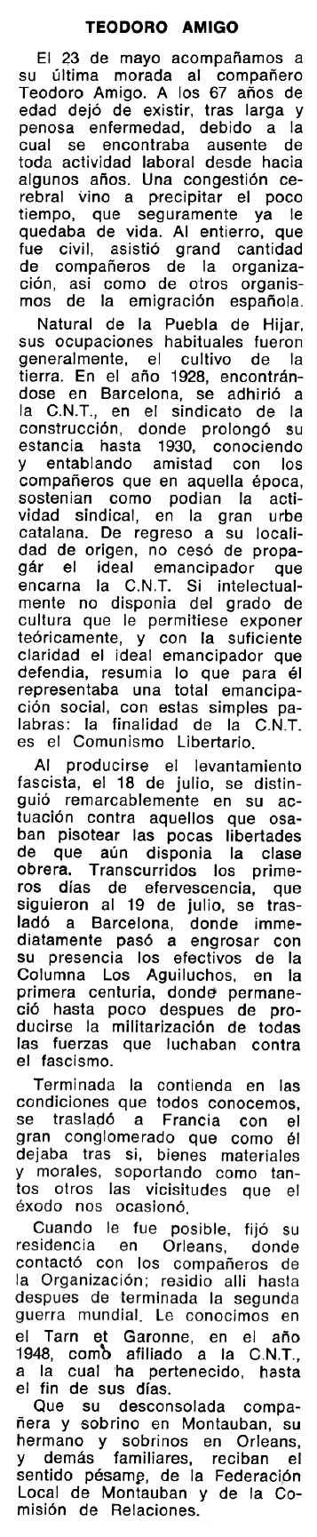 """Necrològica de Teodoro Amigo Estrada apareguda en el periòdic tolosà """"Espoir"""" del 19 d'octubre de 1970"""