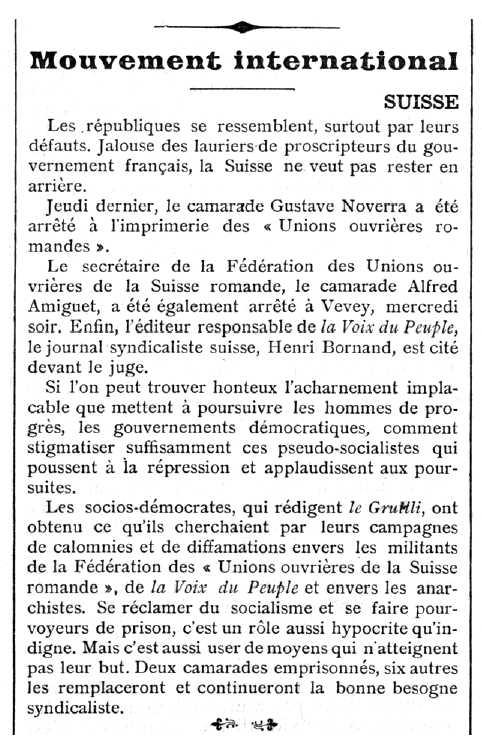 """Notícia sobre la detenció d'Alfred Amiguet apareguda en el periòdic parisenc """"Le Temps Nouveaux"""" del 19 d'octubre de 1907"""