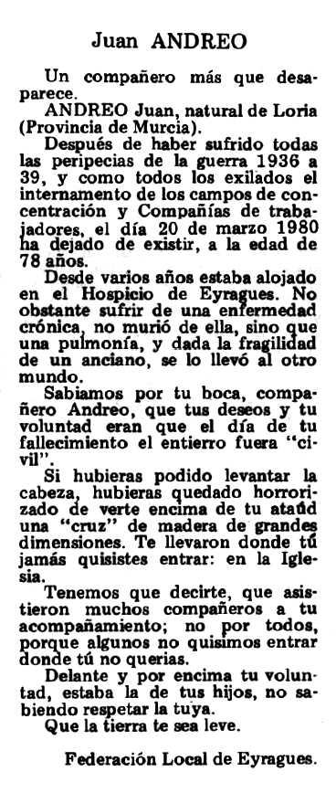 """Necrològica de Juan Andreo García apareguda en el periòdic tolosà """"Espoir"""" del 18 de maig de 1980"""