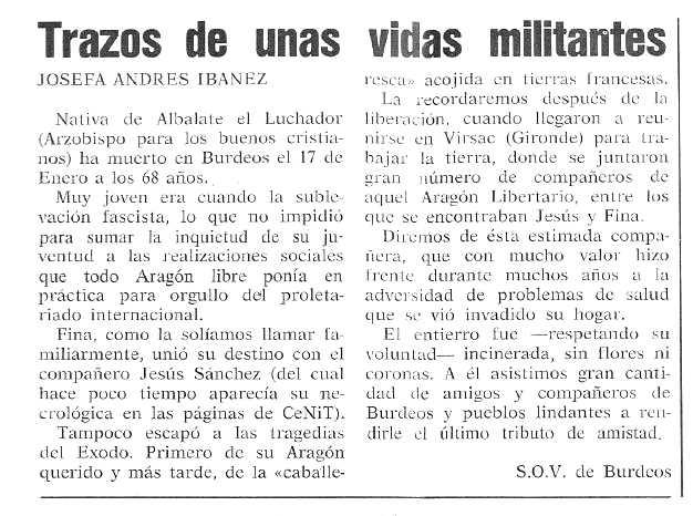 """Necrològica de Josefa Andrés Ibáñez publicada en el periodic tolosà """"Cenit"""" del 16 de maig de 1989"""
