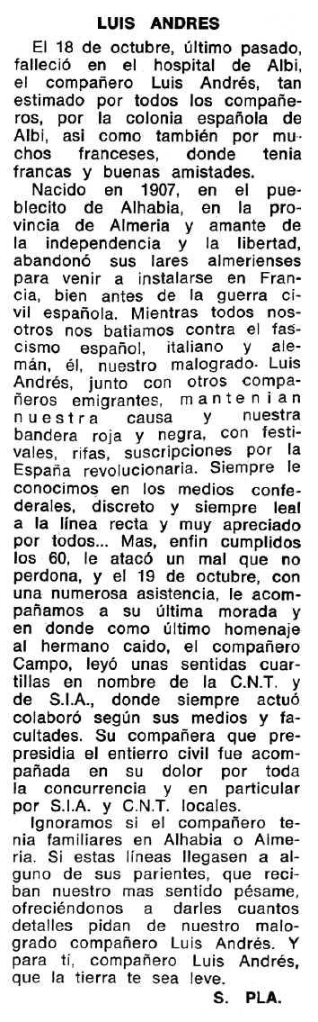 """Necrològica de Luis Andrés Restori publicada en el periòdic tolosà """"Espoir"""" del 10 de desembre de 1967"""