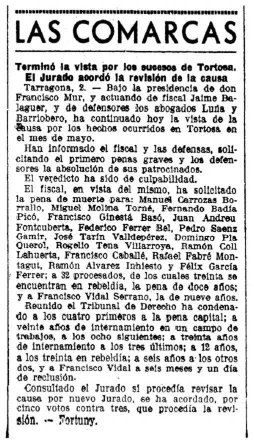 """Noticia sobre el juicio de Joan Andreu Fontcuberta y otros militantes (""""La Vanguardia"""", 03-07-1937)"""