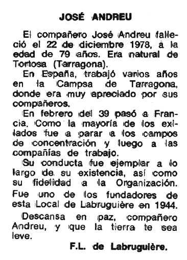 """Necrològica de Josep Andreu Fontcuberta apareguda en el periòdic tolosà """"Espoir"""" del 21 de març de 1979"""