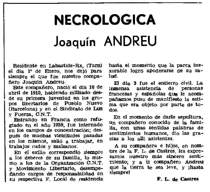 """Necrològica de Joaquim Andreu Pastor apareguda en el periòdic parisenc """"Le Combat Syndicaliste"""" del 6 d'abril de 1978"""