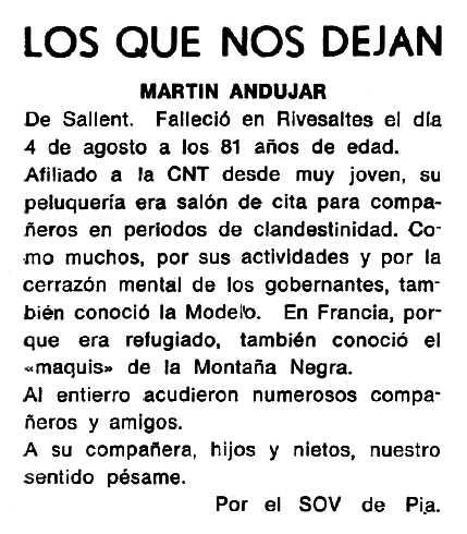 """Necrològica de Martín Andújar López apareguda en el periòdic tolosa """"Cenit"""" del 4 de novembre de 1986"""