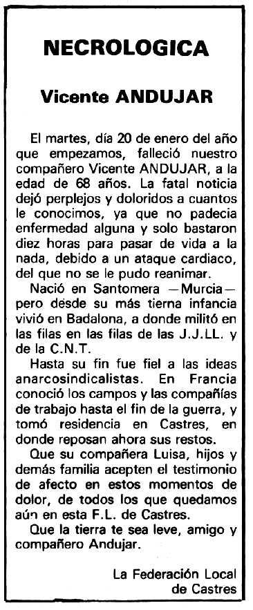 """Necrològica de Vicente Andújar apareguda en el periòdic tolosà """"Espoir"""" de l'1 de març de 1981"""