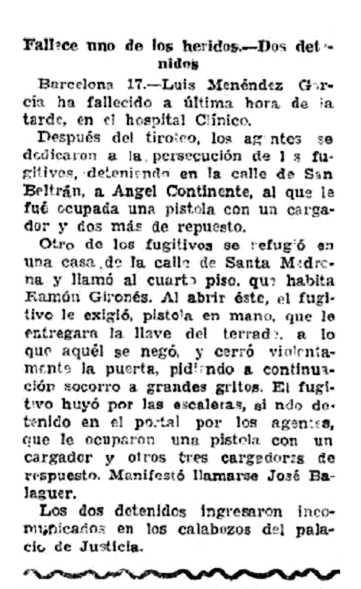 "Notícia de la detenció d'Ángel Continente Saura apareguda al periòdic madrileny ""El Imparcial"" del 18 de desembre de 1931"