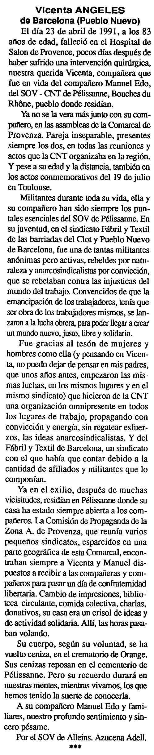 """Necrològica de Vicenta Ángeles apareguda en el periòdic tolosà """"Cenit"""" del 28 de maig de 1991"""