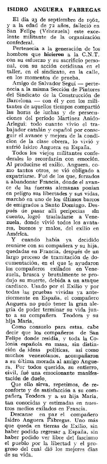"""Necrològica d'Isidre Anguera Fàbregas apareguda en el periòdic tolosà """"Espoir"""" del 17 de març de 1963"""