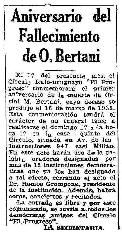 """Convocatòria de l'acte apareguda en el periòdic de Montevideo """"España Democrática"""" del 13 de març de 1940"""