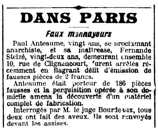 """Notícia de la detenció de Paul Anteaume apareguda en el diari parisenc """"Le Petit Parisien"""" del 27 de maig de 1916"""