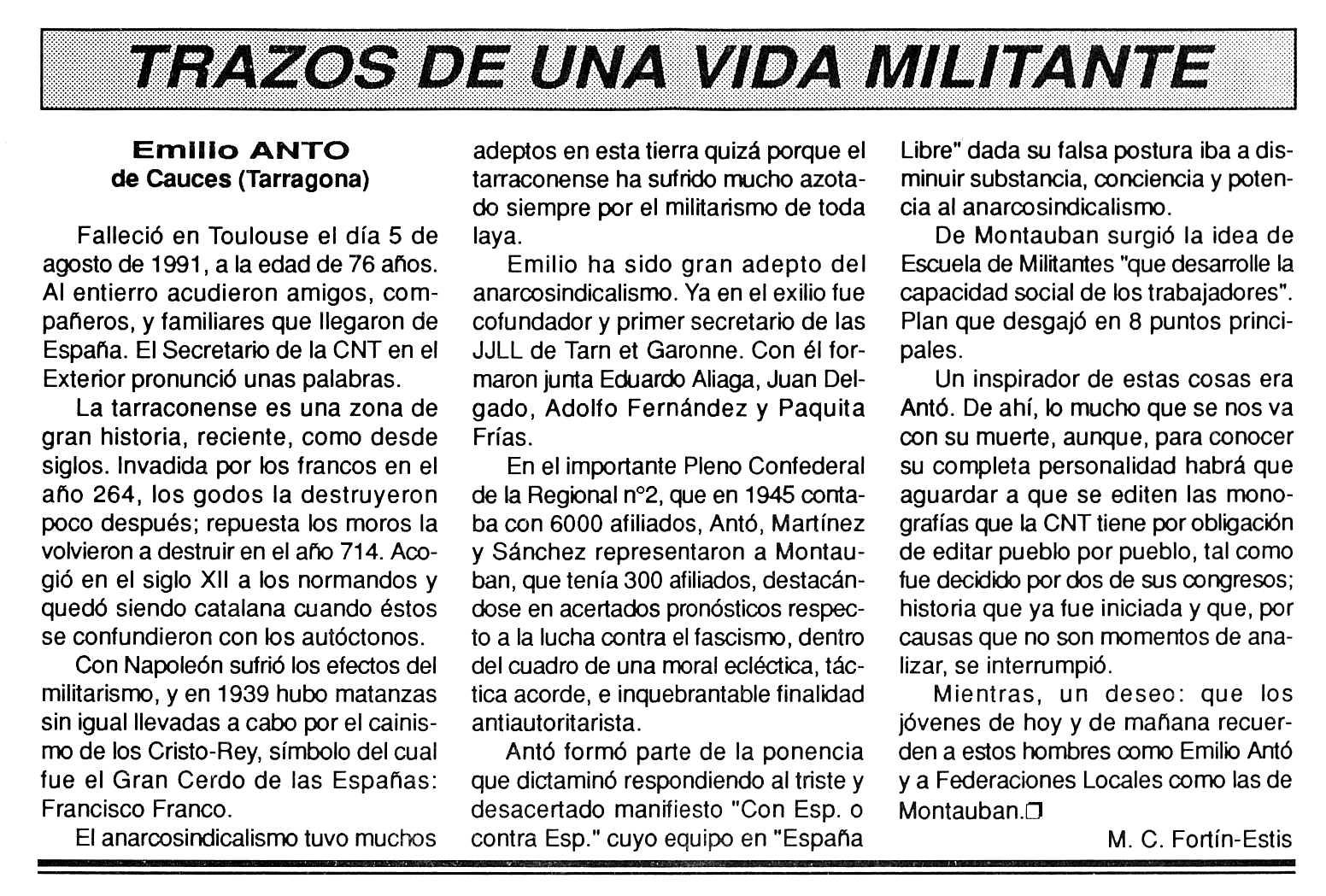 """Necrològica d'Emili Antó apareguda en el periòdic tolosà """"Cenit"""" del 26 de novembre de 1991"""