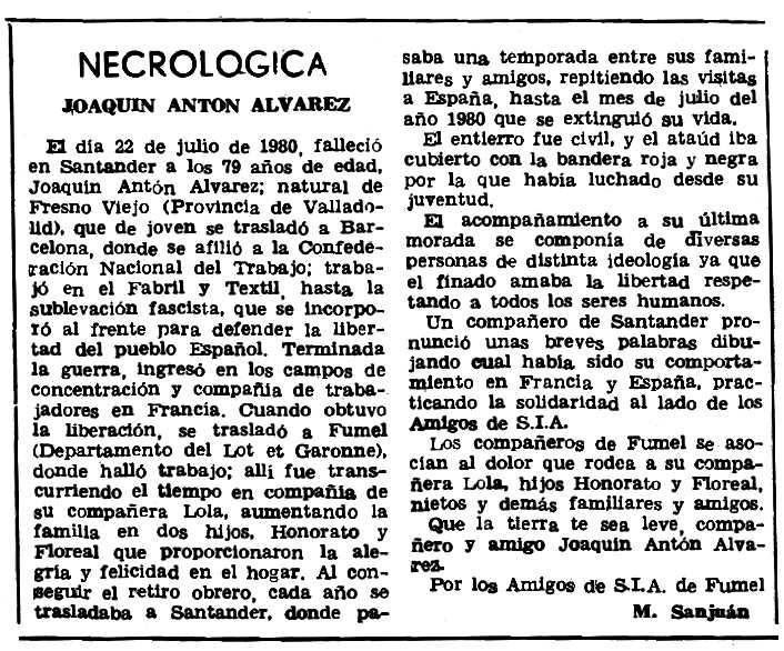 """Necrològica de Joaquín Antón Álvarez apareguda en el periòdic parisenc """"Le Combat Syndicaliste"""" del 25 de desembre de 1980"""