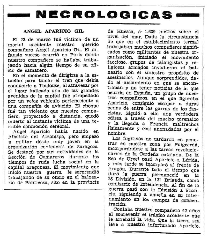 """Necrològica d'Ángel Aparicio Gil apareguda en el periòdic tolosà """"CNT"""" del 6 de maig de 1956"""