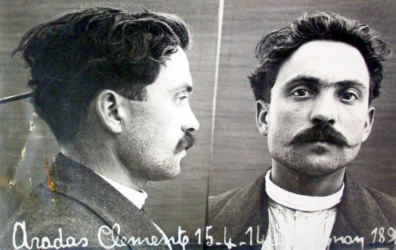 Foto policíaca de Climent Aradas Farró (15 d'abril de 1914)