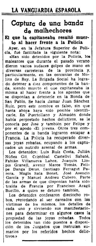 """Notícia de la detenció de Francesc Aragó Bocillo i altres companys apareguda en el diari barceloní """"La Vanguardia"""" de l'1 d'octubre de 1947"""
